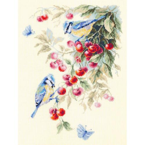 Cross stitch kit - Blue tits and cherry
