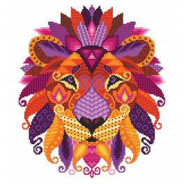 ZN 10604 Kit with tapestry and mouline - Colourful lion