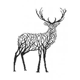 Graphic pattern - Black deer