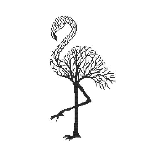 Cross stitch kit - Black flamingo