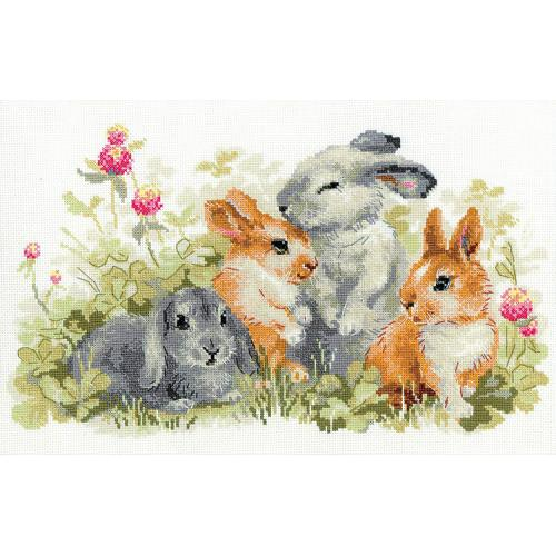 RIO 1416 Cross stitch kit with mouline - Funny bunnies