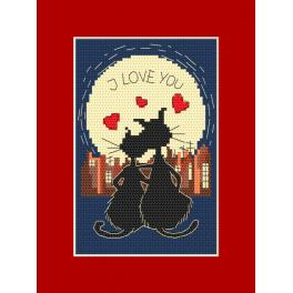 Cross stitch pattern - Card - Cats in love