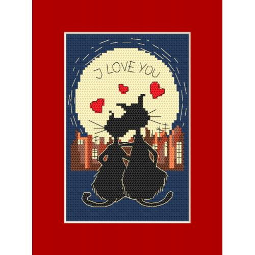 GU 8394 Cross stitch pattern - Card - Cats in love