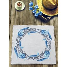 Cross stitch kit with mouline and napkin - Napkin with blue tulips