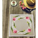 Cross stitch kit with mouline and napkin - Napkin with tulips