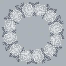 Cross stitch pattern - Napkin with white roses