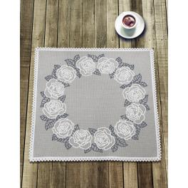 Cross stitch kit with mouline and napkin - Napkin with white roses