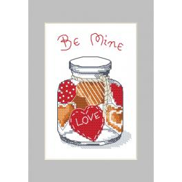 Cross stitch kit with a postcard - Postcard - Jar with gingerbread