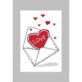 Cross stitch kit with a postcard - Postcard - Envelope with a heart