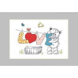 Cross stitch kit with a postcard - Postcard - Teddy bear washing