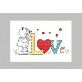 Cross stitch kit with a postcard - Postcard - Teddy bear love