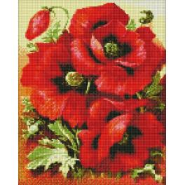 M AZ-1135 Diamond painting kit - Bright poppies