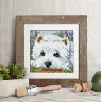 M AZ-1639 Diamond painting kit - Hide and seek with white dog