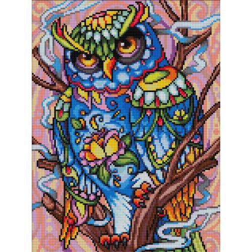 M AZ-1610 Diamond painting kit - Colourful owl