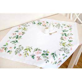Cross stitch kit - Tablecloth with leaves