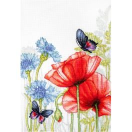 LS BU4018 Cross stitch kit - Poppies and butterflies