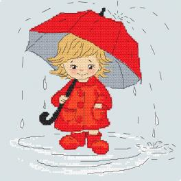 Cross stitch pattern - Girl with an umbrella