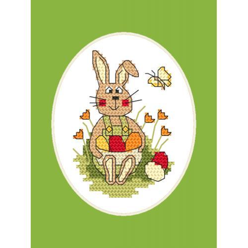 Cross Stitch pattern - Easter postcard - Bunny