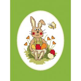 Cross stitch kit with a postcard - Easter postcard - Bunny