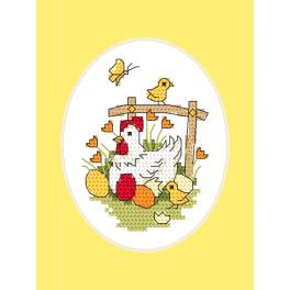 Cross stitch kit with a postcard - Easter postcard - Hen with chicks