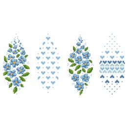 Cross stitch pattern - Easter egg with forget-me-nots