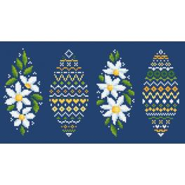 Cross stitch pattern - Easter egg with daisies