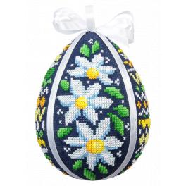 Cross stitch kit - Easter egg with daisies