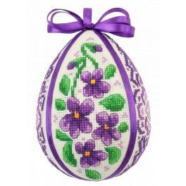 ZU 10605 Cross stitch kit - Easter egg with violets