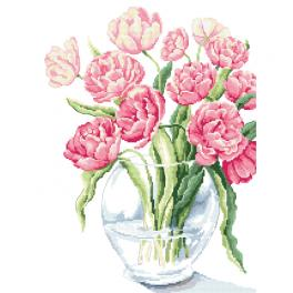 Cross stitch kit with mouline and beads - Fabulous tulips