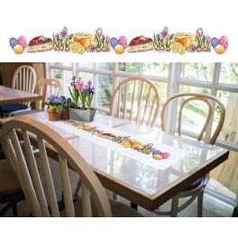 ZU 10414 Cross stitch kit with a runner - Long Easter table runner