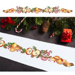ZU 10197 Cross stitch kit with a runner - Long Christmas table runner