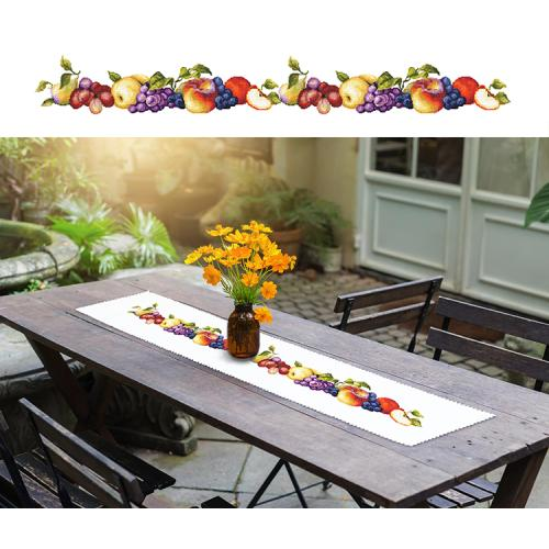 Cross stitch kit with a runner - Long table runner with fruit