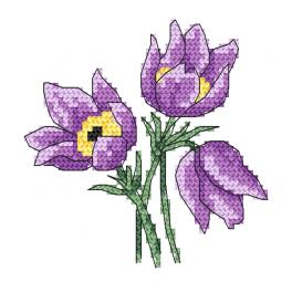 Cross stitch pattern - Charming pasque-flowers