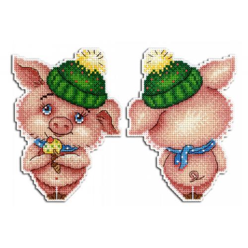 Cross stitch kit - Pendant - Winter piggy