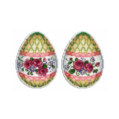 Cross stitch kit with mouline and beads - Pendant - Spring holiday