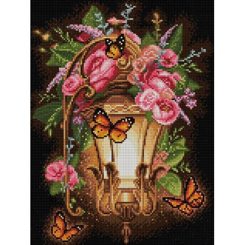 Diamond painting kit - Lantern and dogrose