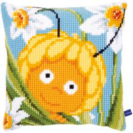 VPN-0153819 Cross stitch kit - Pillow - Maya in the daffodils