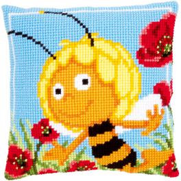 Cross stitch kit - Pillow - Maya in the poppies