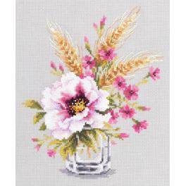 Cross stitch kit - Poppy and maiden pinks