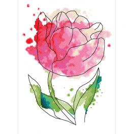 Kit with tapestry and mouline - Watercolour tulip