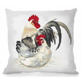 W 10425 ONLINE pattern pdf - Pillow with cock and chanterelle