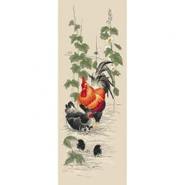 GC 10423 Graphic pattern - Rooster and hen