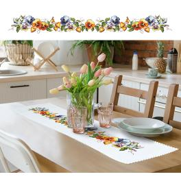 Cross stitch kit with a runner - Long table runner with pansies