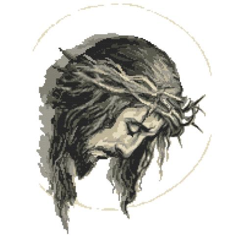 Cross stitch pattern - Jesus with a crown of thorns
