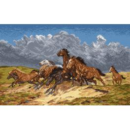K 733 Tapestry canvas - Mustangs