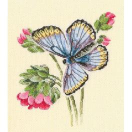 Cross stitch kit - Butterfly on the dainty flower