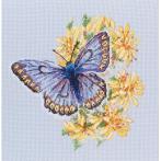 Cross stitch kit - Butterfly on flowers