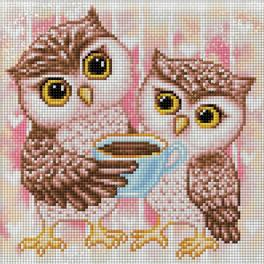 M AZ-1796 Diamond painting kit - Owlets and hot chocolate