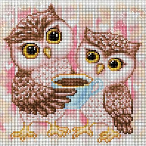M AZ-1796 Diamond painting kit - Owlets and hot chocolate