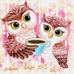 Diamond painting kit - Owlets and hot chocolate